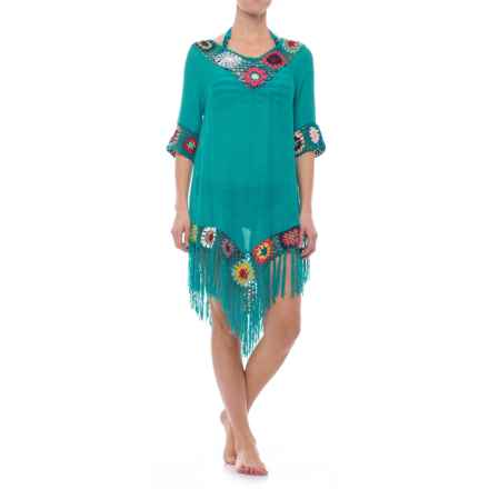 Lula Floral Beach Cover-Up - Elbow Sleeve (For Women) in Turquoise - Closeouts