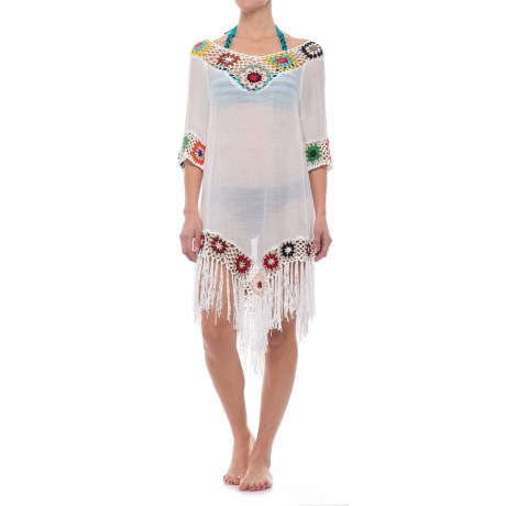 Lula Floral Beach Cover-Up - Elbow Sleeve (For Women) in White