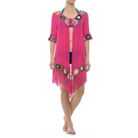 Lula Open-Front Beach Cover-Up - Elbow Sleeve (For Women) in Fuchsia