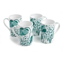 Lulu DK Hydrangea Porcelain Mugs - Set of 4 in Blue - Closeouts