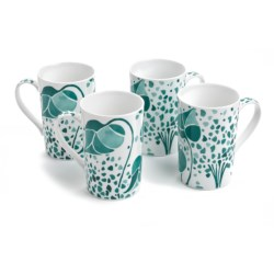 Lulu DK Hydrangea Porcelain Mugs - Set of 4 in Blue