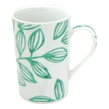 Lulu DK Leaf Porcelain Mugs - Set of 4 in Green - Closeouts