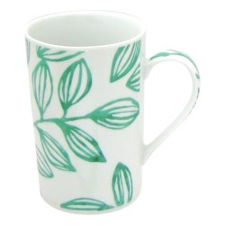 Lulu DK Leaf Porcelain Mugs - Set of 4 in Green