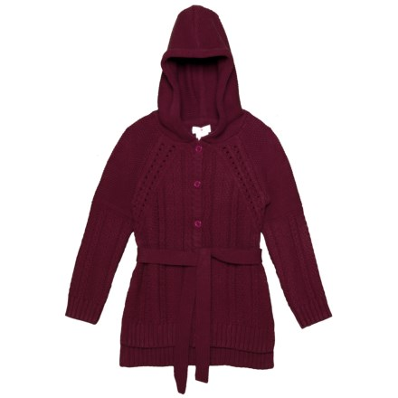 69328582126 LULURAIN Button-Up Belted Hooded Sweater (For Little Girls) in Cab Red -