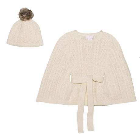 7eb7172b24 LULURAIN Cable-Knit Belted Cape with Hat Set (For Big Girls) - Save 60%
