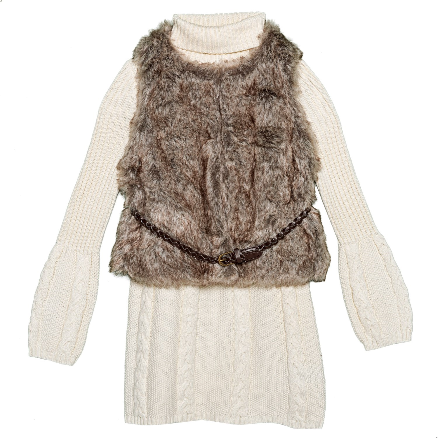 21d5ceac6e LULURAIN Cable-Knit Dress and Faux-Fur Vest Set (For Little Girls ...