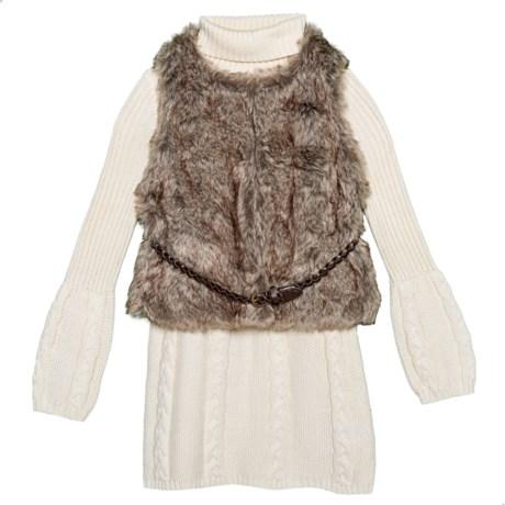 21d5ceac6e LULURAIN Cable-Knit Dress and Faux-Fur Vest Set (For Little Girls ...