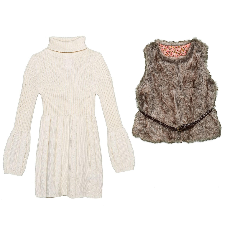 54e69e225b LULURAIN Cable-Knit Dress and Faux-Fur Vest Set - 2-Piece (For Little Girls)