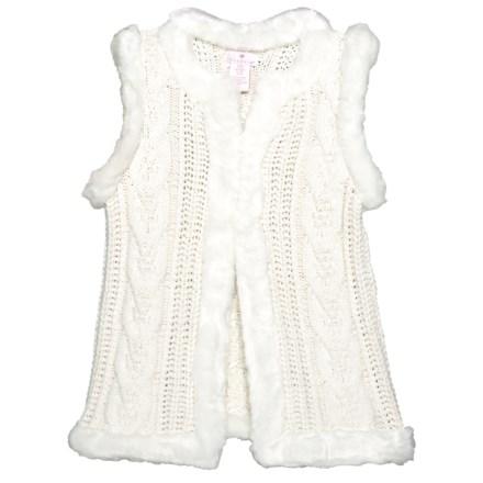 afa1631e42 LULURAIN Cable Knit Faux Fur Vest (For Big Girls) in Cream - Closeouts