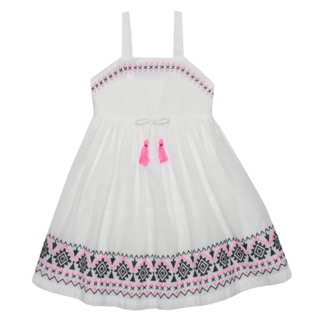 LULURAIN Embroidered Dress - Sleeveless (For Little and Big Girls) in White