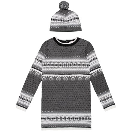 72abb027dfb31 LULURAIN Jacquard Sweater Dress and Hat Set - Long Sleeve (For Big Girls) in