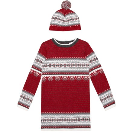e055b1951c LULURAIN Jacquard Sweater Dress and Hat Set - Long Sleeve (For Little Girls)  in