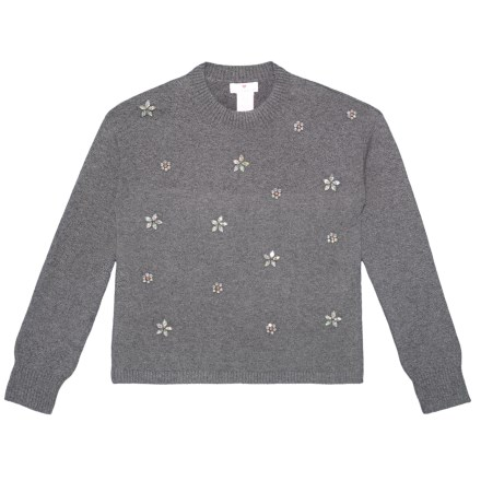 8e17006e28 LULURAIN Knit Pullover Sweater - Long Sleeve (For Big Girls) in Medium  Heather Grey