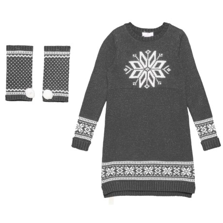 d6a6edf363 LULURAIN Snowflake Jacquard Dress and Ankle Warmers - Long Sleeve (For Big  Girls) in