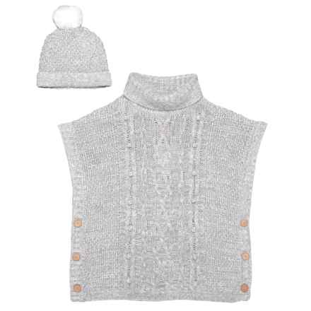 LULURAIN Turtleneck Cape and Hat Set - 2-Piece (For Little Girls) in Grey - Closeouts