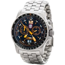 Luminox F-35 Lightning II 9380 Series Chronograph Watch - Stainless Steel Strap (For Men) in Black/Silver - Closeouts