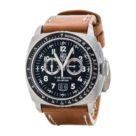 Luminox P-38 Lightning Chronograph Watch - Leather Band (For Men) in Black/Brown - Closeouts