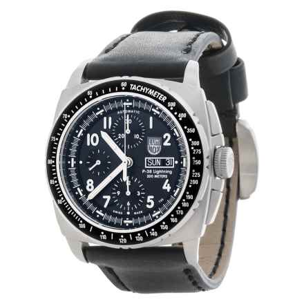 Luminox P38 Lightning Valjoux Chronograph Watch - Leather Strap (For Men) in Black/Black - Closeouts