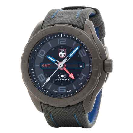Luminox SXC Aerospace Watch - Leather Band (For Men) in Black/Black/Blue - Closeouts