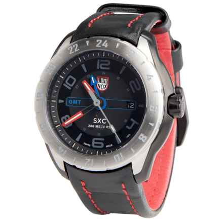 Luminox SXC Aerospace Watch - Leather Band (For Men) in Black/Black/Red - Closeouts