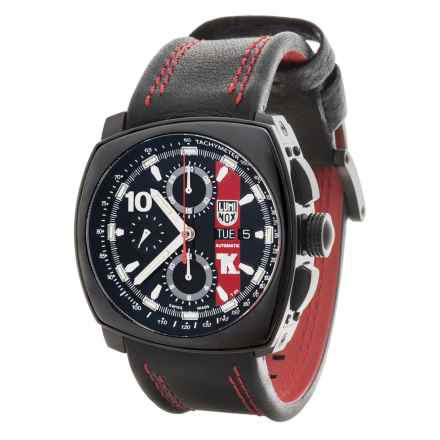 Luminox Tony Kanaan Valjoux Series 1180 Automatic Chronograph Watch - Leather Strap (For Men) in Black/Black - Closeouts