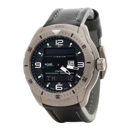 Luminox XCOR-SXC Pilot Analog Digital Titanium Watch - Leather Strap (For Men) in Black/Black - Closeouts