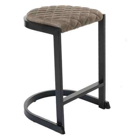 LumiSource Demi Industrial Counter Stool in Brown - Closeouts