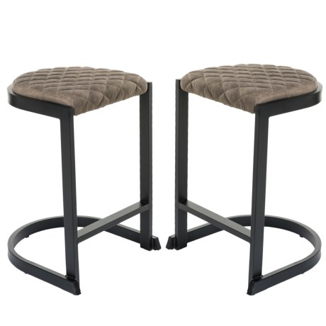 LumiSource Demi Industrial Counter Stools - Set of 2 in Brown