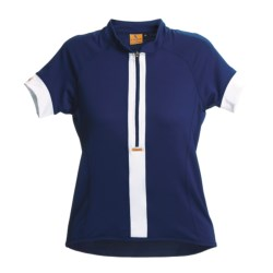 Luna Sport Clothing Stripe Cycling Jersey - Half-Zip, Short Sleeve (For Women) in Denim