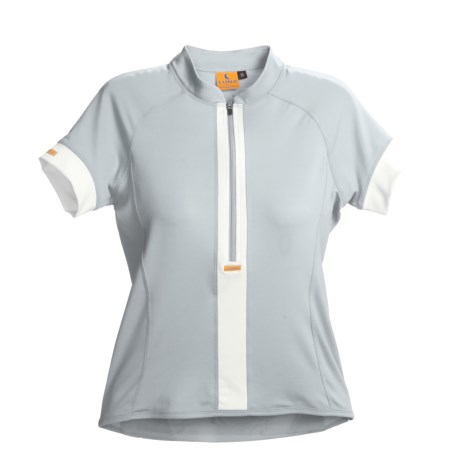 Luna Sport Clothing Stripe Cycling Jersey - Half-Zip, Short Sleeve (For Women) in Moon