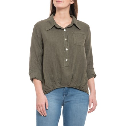 fd495262d9 Lungo L Arno Made in Italy Olive Pence Button Linen Shirt - Long Sleeve (