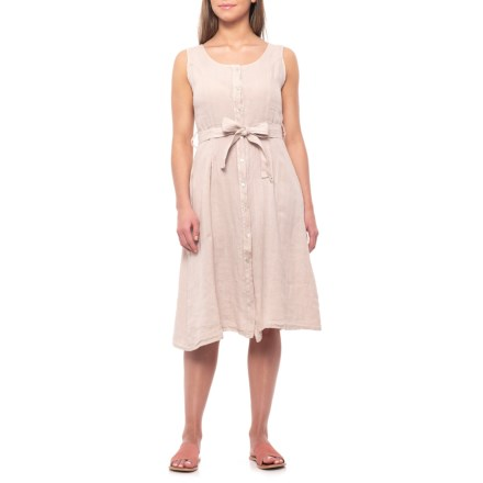 220878a1581 Lungo L Arno Made in Italy Sabia Button-Front Midi Dress - Linen