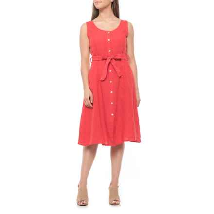 Lungo L'Arno Made in Italy Scarlett Button-Front Midi Dress - Linen, Italy (For Women) in Scarlett - Closeouts