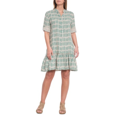 96244c504650 Lungo L'Arno Made in Italy Teal Print Geo Flounce Hem Dress - Elbow Sleeve