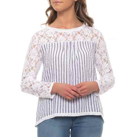 Lungo L'Arno Made in Italy White Blue Stripe Lace Shirt - Linen, Long Sleeve  (For Women) in White Blue Stripe - Closeouts