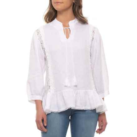 Lungo L'Arno Made in Italy White Crochet Shirt - Linen, 3/4 Sleeves (For Women) in White - Closeouts