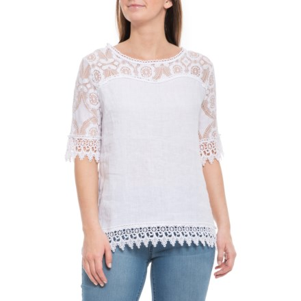d9e576dbac Lungo L Arno Made in Italy White Spike Flower Crochet Linen Blouse - Short  Sleeve
