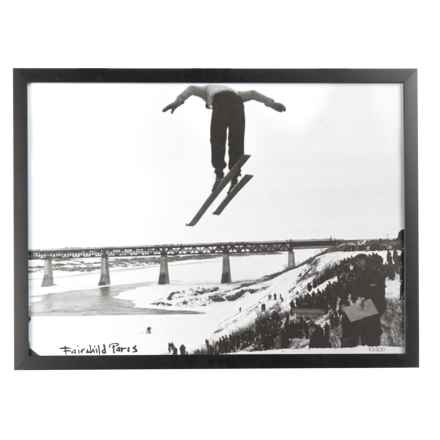 "Luxe West Vintage Long Jump Skier Print - 17x23"" in Black/White - Closeouts"