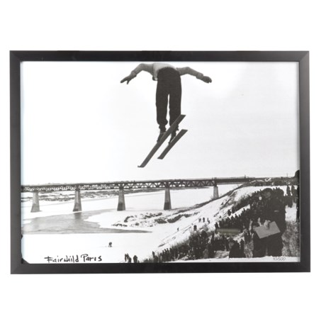 "Luxe West Vintage Long Jump Skier Print - 17x23"" in Black/White"