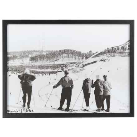 """Luxe West Vintage Skiers Overlooking Print - 18x24"""" in Black/White - Closeouts"""