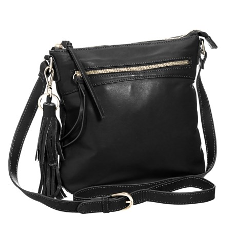 M London Crossbody Bag - Leather (For Women) in Black