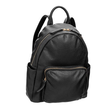 M London Fashion Backpack - Leather (For Women) in Black