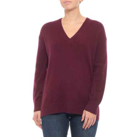 M Magaschoni Cashmere V-Neck Pullover Sweater (For Women) in Red Wine Heather - Closeouts