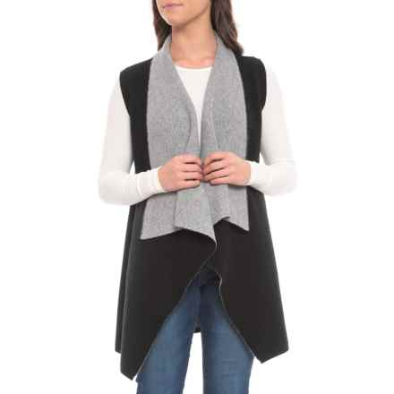 M Magaschoni Double-Knit Reversible Plaited Sweater Vest - Cashmere (For Women) in Flannel/Black - Closeouts
