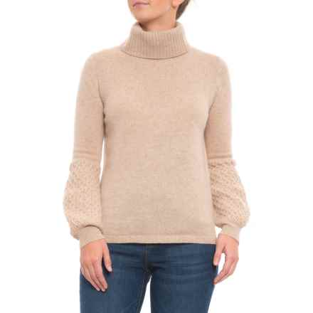 461b8a5552 Clearance. M Magaschoni Turtleneck Cable Sleeve Pullover Sweater - Cashmere  (For Women) in Tuscan Heather