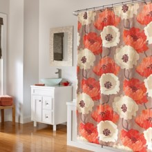 """M Style Elton Fabric Shower Curtain - 70x72"""" in Poppies - Closeouts"""