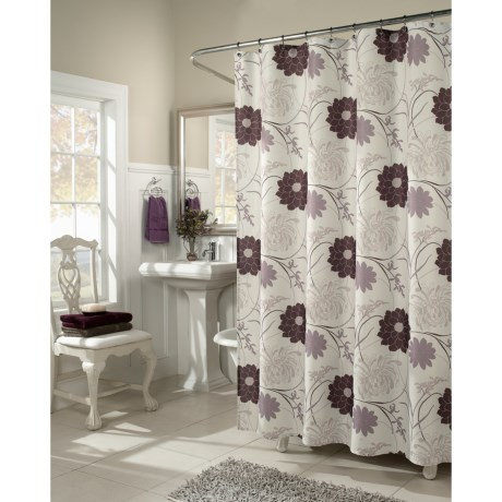 M. Style Floral Harmony Fabric Shower Curtain in Multi