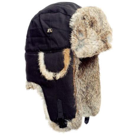 Mad Bomber® Aviator Hat - Rabbit Fur (For Men and Women) in Black Canvas