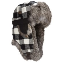 Mad Bomber® Aviator Hat - Rabbit Fur, Insulated (For Men and Women) in Black/White Plaid W/Grey Fur - Closeouts