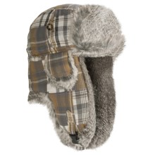 Mad Bomber® Aviator Hat - Rabbit Fur, Insulated (For Men and Women) in Yellow/Brown Patchwork W/Grey Fur - Closeouts